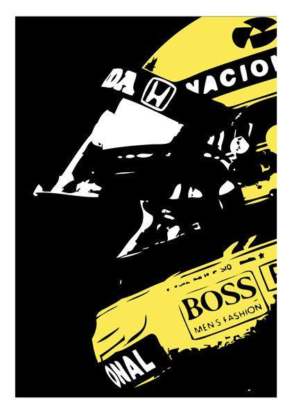 Ayrton Senna poster. $21.00, via Etsy.