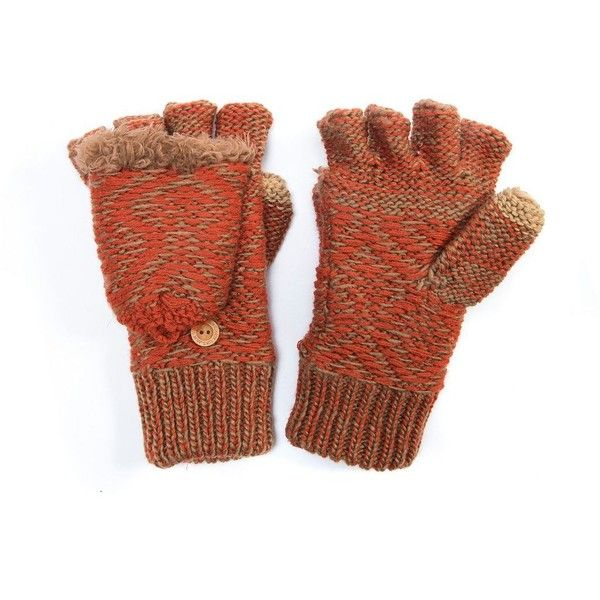Women's MUK LUKS Gaucho Geometric Convertible Mittens ($27) ❤ liked on Polyvore featuring accessories, gloves, orange, muk luks mittens, convertible fingerless gloves, muk luks gloves, mitten gloves and orange gloves