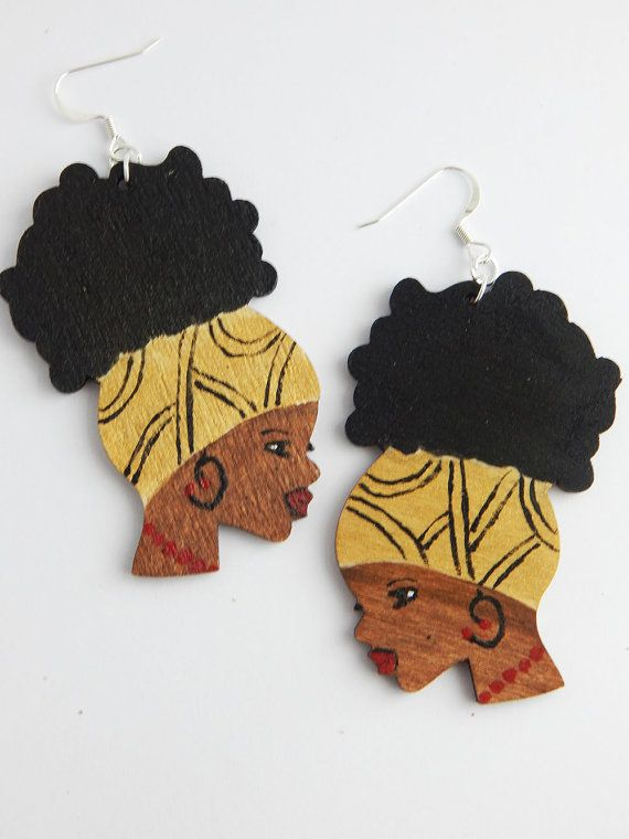 Natural Hair Earrings Afro Puff Jewelry Black Woman Earrings Afrocentric Ethnic Hand Painted Earrings African Jewellery Clip On by TheBlackerTheBerry
