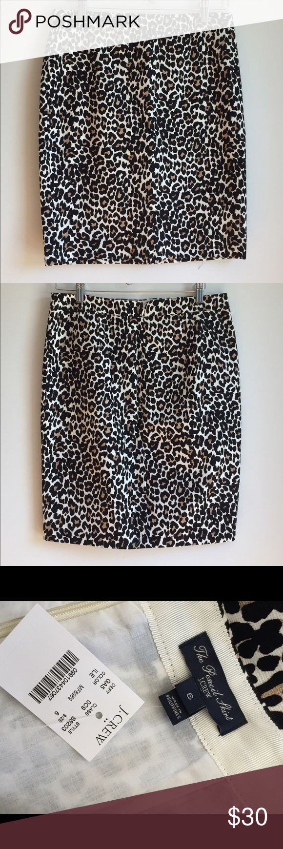 New with tags J Crew leopard print pencil skirt J Crew Factory leopard print pencil skirt, size 6.  New with tags.  Fantastic skirt, classic and beautiful.  Back zip, lined. J. Crew Skirts Pencil