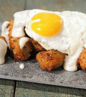 Michael Symon Tater Tots with Fried Eggs and Cheese Sauce - Chew Recipes