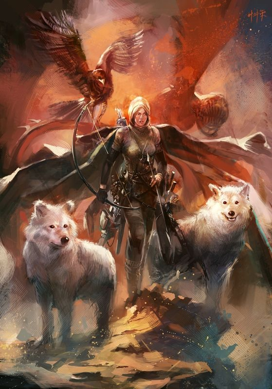 fantasy women archers | ... to Strength Picture (2d, fantasy, girl, female, woman, archer, wolfs