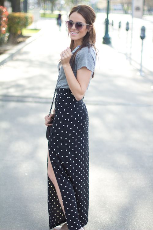 #StyleInspiration: Printed maxi with a thigh high slit? Hell, yes.