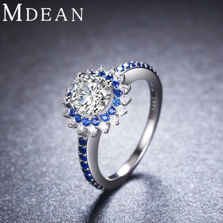 Round Genuine 925 Sterling Silver Sapphire Jewelry CZ Diamond Rings for Women Bague Size 6 7 8