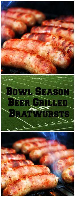 Bowl Season Beer Grilled Bratwursts