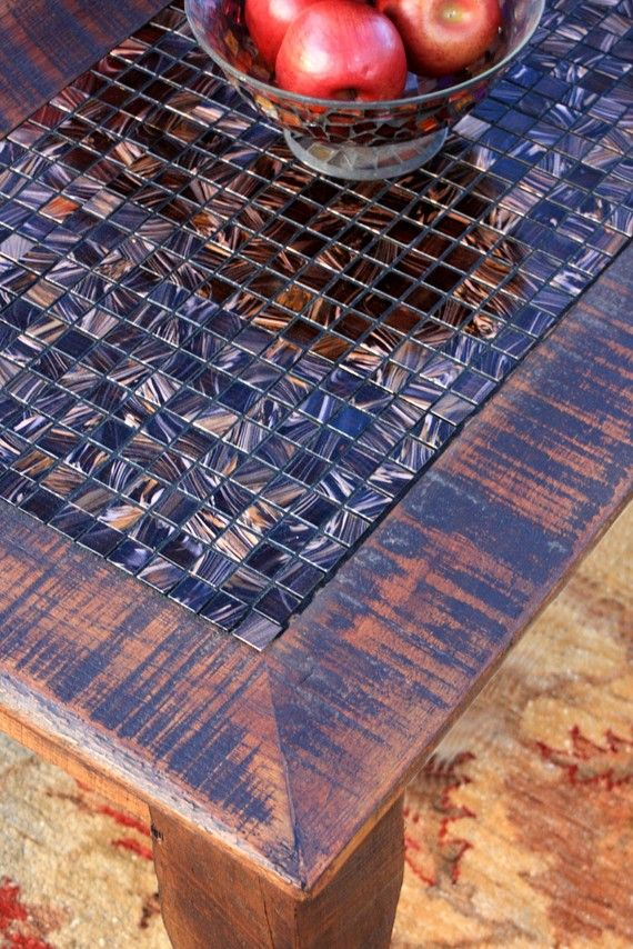 Coffee Table Tile Mosaic Reclaimed Wood by natureinspiredcrafts, $460.00