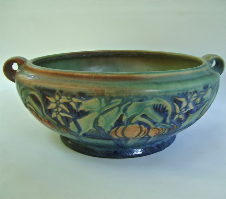 "Roseville Pottery Patterns | Details about ROSEVILLE POTTERY 7 1/2"" GREEN BANEDA # 232-6 VASE CIRCA ..."