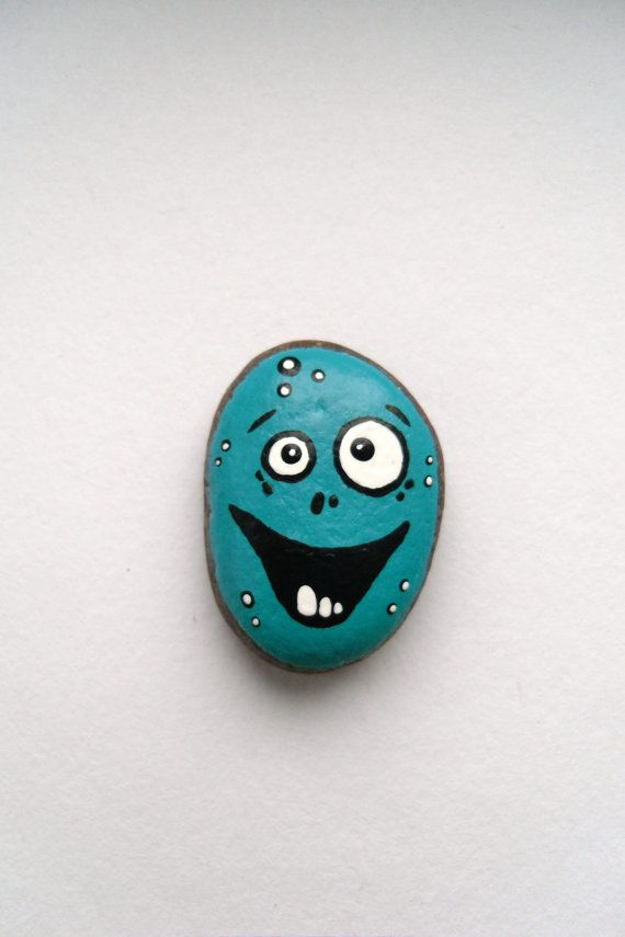 Painted Baltic Sea Stone - Nick The Laughing Rock - Mixed Media Object - Purple Beach Stone - Home Decor - OOAK