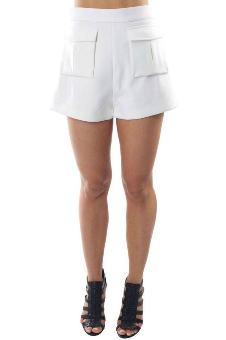 The 'Higher Ground' shorts by Cameo are structured shorts with exaggerated front pockets. The medium-weight shorts are lined and have an exposed back zip. Pair them up with a crop top and heels.   Higher Ground Shorts by Cameo . Clothing - Shorts - High-Waisted Miami, Florida