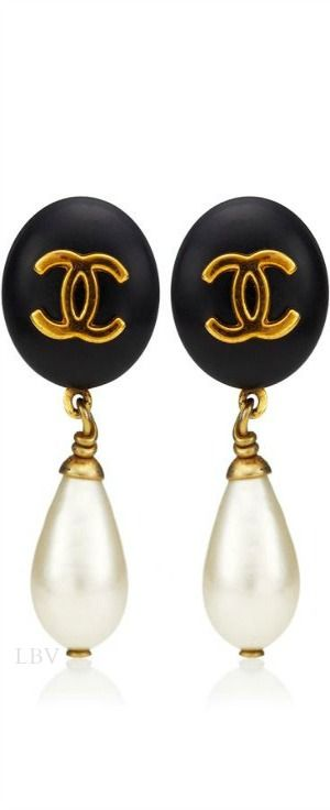Chanel ♥✤Vintage Black Pearl Drop Earring