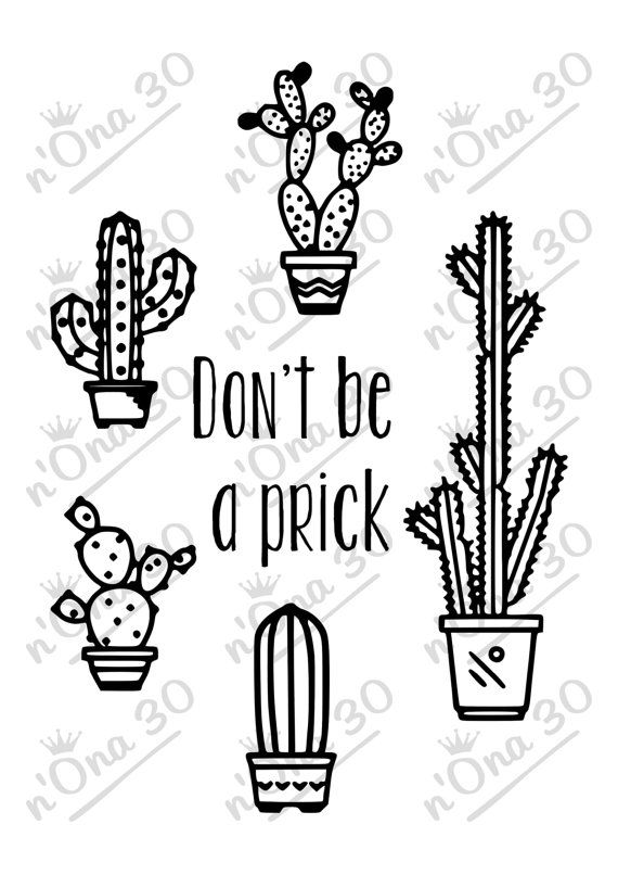 CACTUS PRICK design file for Silhouette or other cutting por Nona30