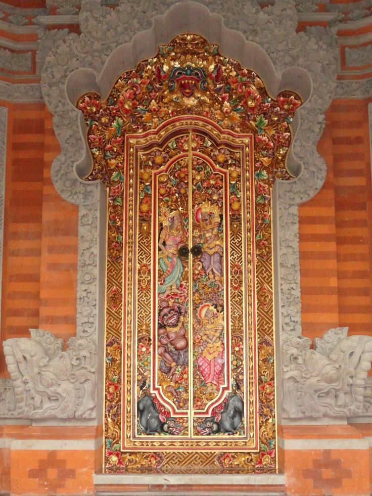 Traditional Baleneese wooden carved door