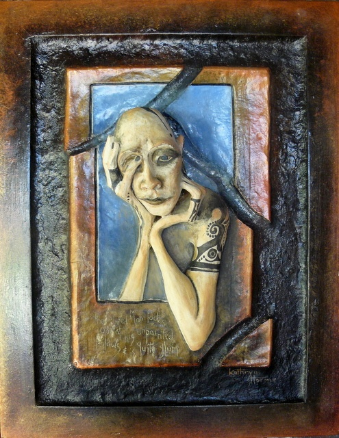 Ceramic Sculpture. The Painted Man. Clay, paper pulp, wood frame and artist's acrylic paint.