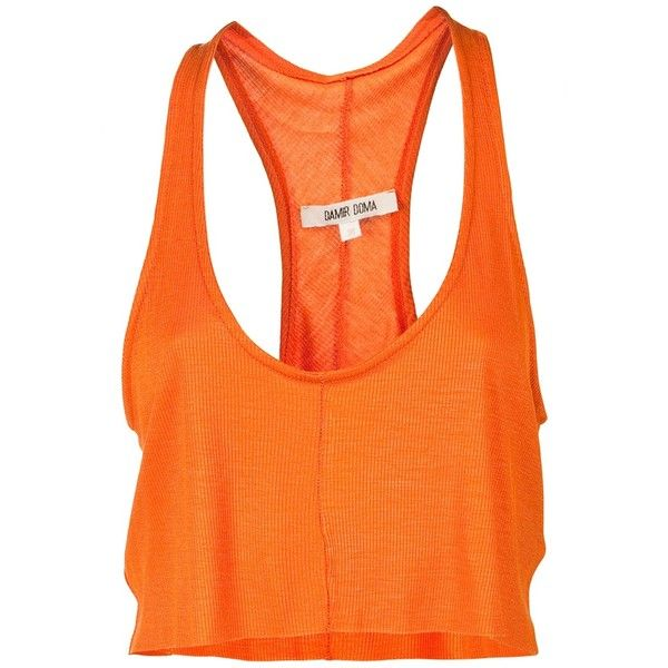 DAMIR DOMA Cropped tank top (£107) ❤ liked on Polyvore featuring tops, shirts, tank tops, tanks, women, racer back crop top, racer back tank tops, crop top, racer back tank and orange crop top