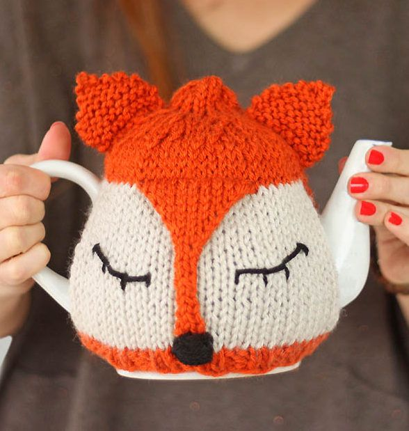 Free Knitting Pattern for Fox Tea Cosy - Gina Michele designed this easy teapot cozy cover to bebeginner-friendly.