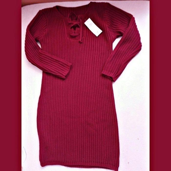 Pletené šaty se šněrováním