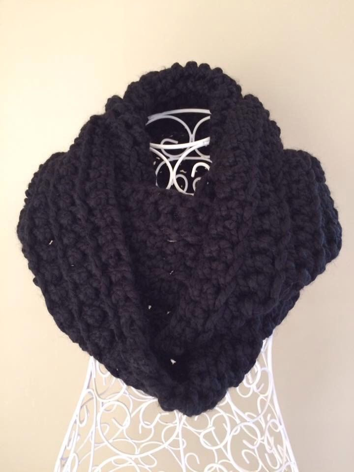 Chunky infinity scarf. Soft thick black yarn crocheted to create this gorgeous jet infinity scarf/cowl. by RusticRoseByKaren on Etsy https://www.etsy.com/au/listing/464418259/chunky-infinity-scarf-soft-thick-black