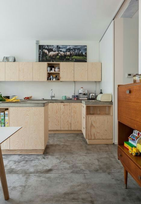 Plywood kitchen & concrete floor