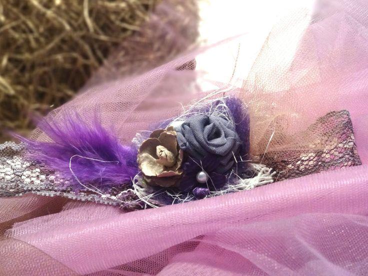 Accessoire Haarband Babyfotografie Newborn girl prop handmade violet Stirnband