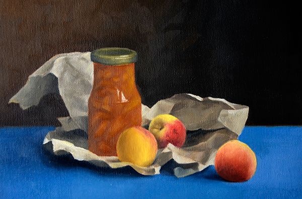 Jam and Peaches: Oil onto Canvas