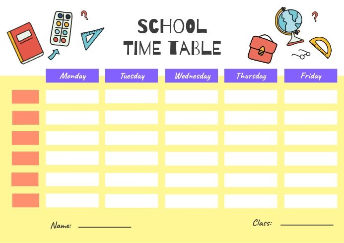 Yellow Class Timetable Schedule Template School Schedule Printable School Timetable Education Poster