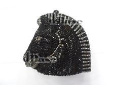 Crystal Black HORSE head Evening purse.