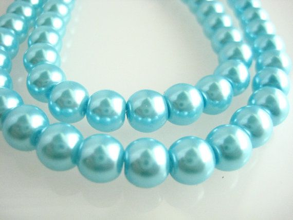 8mm Turquoise Glass Pearls by zoeJaneJewelrySupply on Etsy, $0.95