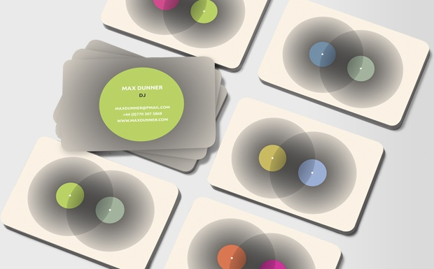 """These cards heighten the idea of a passion for vinyl with the suggestion of the delicate art of mixing – saying """"you'll be in safe hands with me"""". #moocard #businesscard"""