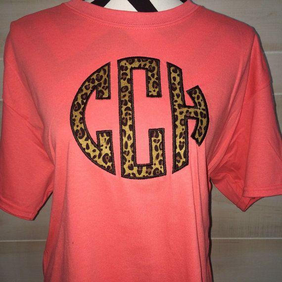 7 Cheetah Print Monogram T-shirt by themonogramaddict on Etsy