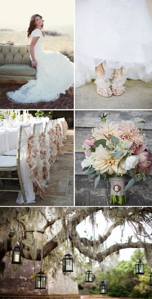 Peach, cream and dusky green are perfect vintage wedding colours. Hanging lamps will also give a vintage, fairy tale feel to your outdoor wedding.