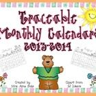 Traceable calendars for the months of August through July.  These calendars are simple for students to practice number tracing and writing practice...