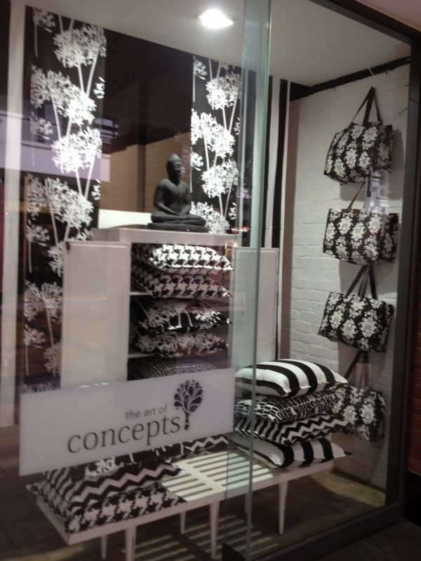 Black & White Scatter Cushions in window display at Art of Concepts, Willow Bridge Shopping Centre, Cape Town