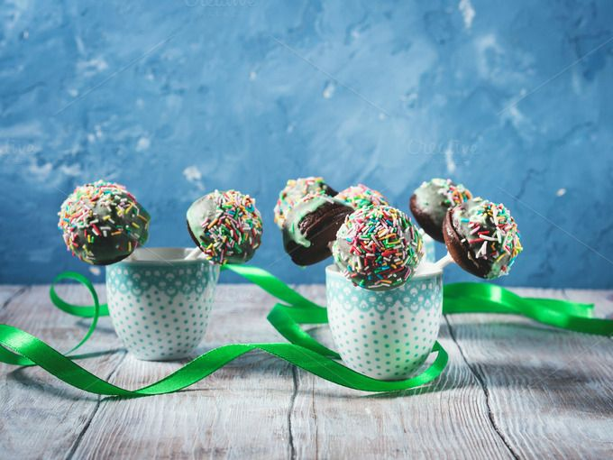 Colorful chocolate cake pops by Life Morning Photography on @creativemarket