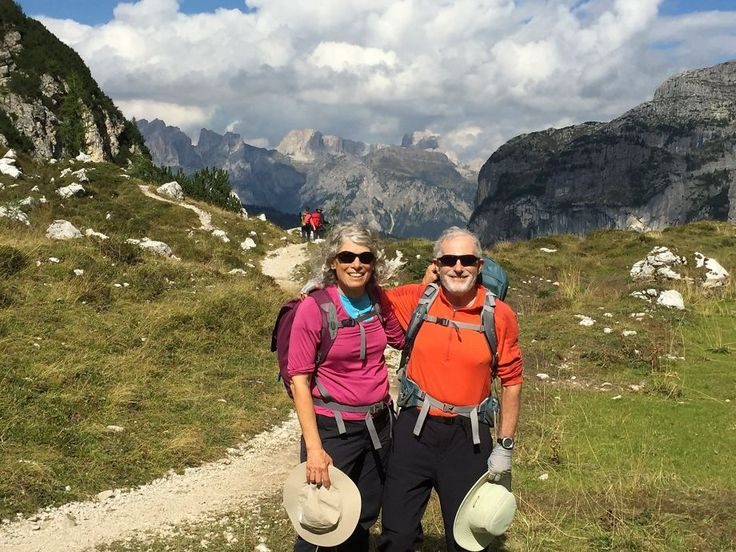 Hut-to-hut hiking in the Dolomites || Carolyn and Peter Lehman, of Arcata, Calif., on the Alta Via (High Route) No. 1 at Tissi Pass in the Italian Dolomites. Photo: Courtesy Carolyn Lehman #OLovesM