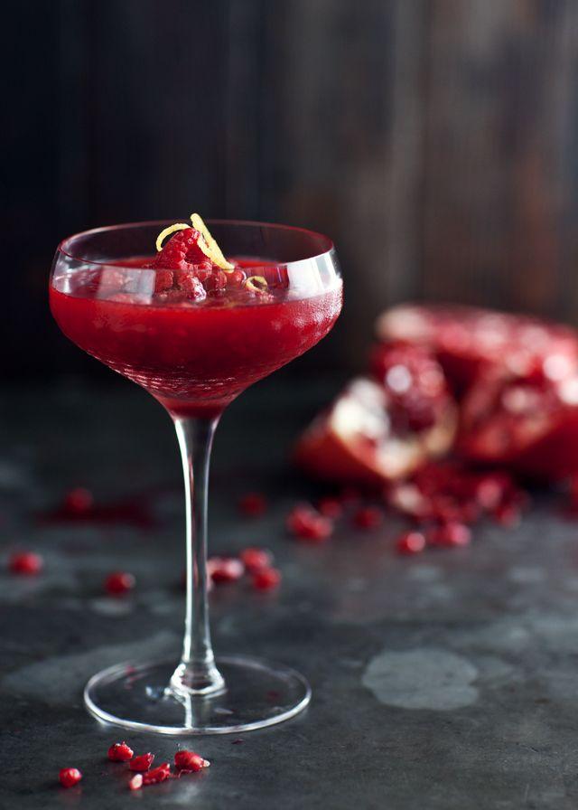 frozen raspberry-pomegranate and vodka cocktail