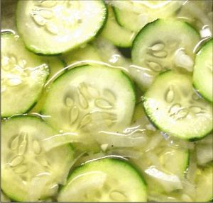 Cucumber Salad---Super yummy to keep in the fridge as a quick side, add on to a sandwich or just to snack on!--Kelly