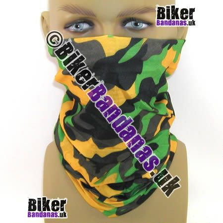 Green and Yellow Camouflage Multifunctional Headwear / Neck Tube Bandana.  One of over 400 Styles for Men and Women