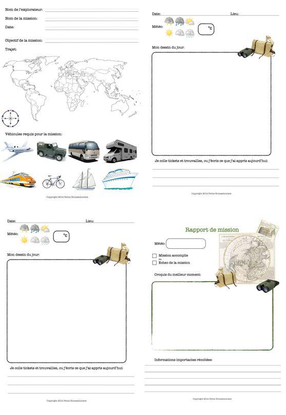 petits homeschoolers: carnet de voyage d'explorateur à imprimer