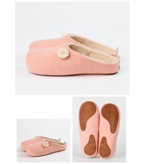 Pair of pink felt slippers