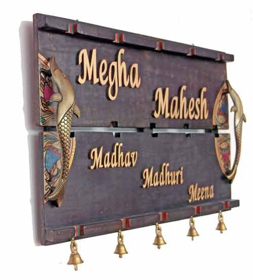 handcrafted name plate with dhokra warli design. Interior Design Ideas. Home Design Ideas