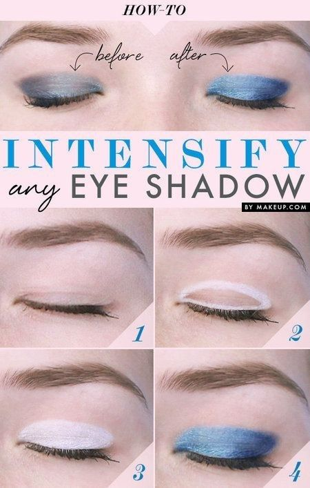 Color your entire lid with white eyeliner to make eyeshadow colors POP. | 41 Life-Saving Beauty Hacks Every Girl Should Have In Her Arsenal