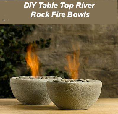 DIY Tabletop River Rock Fire BowlFire Pits, Ideas, Oil Lamps, Rivers Rocks, Diyprojects, Fire Bowls, Rocks Bowls, Firepit, Diy Projects