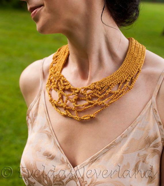 Golden Dreams - OOAK Freeform Crochet Necklace Collar Neckwear Fiber Jewelry Wearable Fiber Art by EveldasNeverland, $90.00