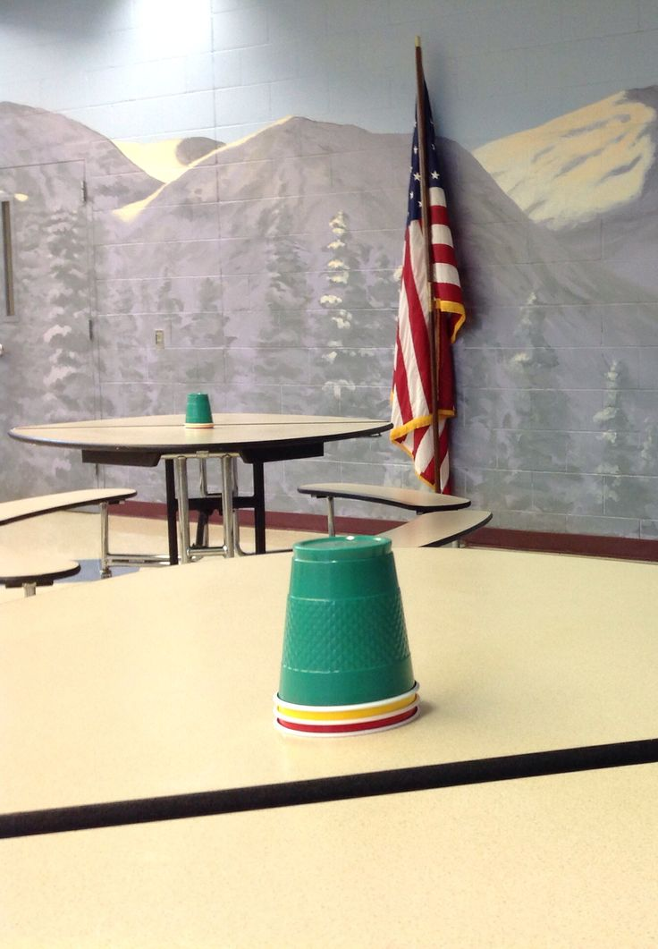 Use colored cups to represent the sound level in the school lunchroom.....green=all is good. Yellow=it's getting a bit too loud. Red=loss of recess time....each table has their own.