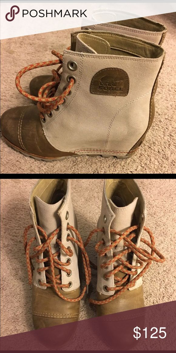 Sorel wedge booties Super cute Sorel wedge boots! In good condition with minimal wear! Sorel Shoes Wedges