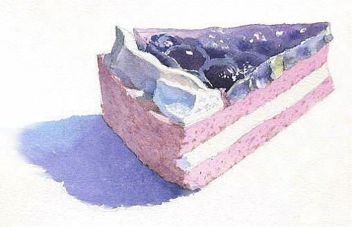 水彩画 「ブルーベリーのケーキ」