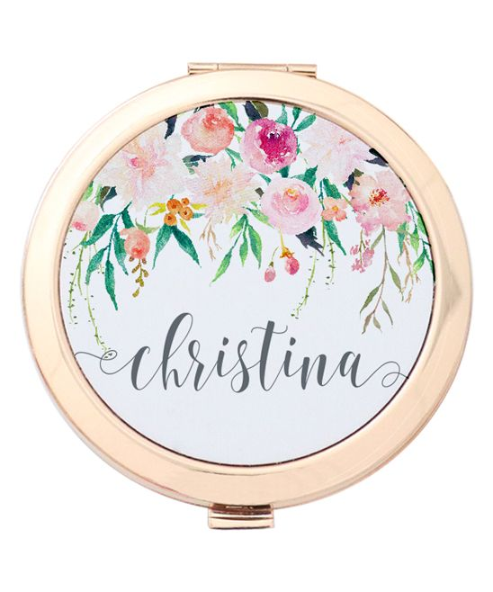 Hanging Floral Personalized Compact Mirror