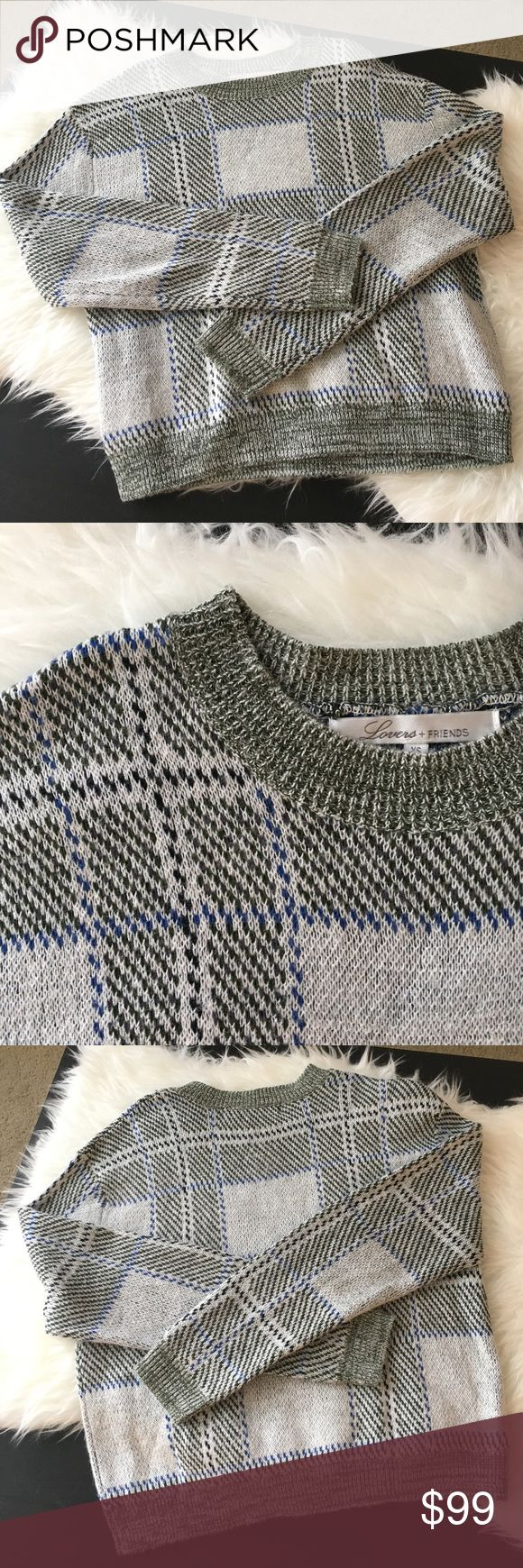 Lovers and Friends Kate Plaid Pullover Sweater Excellent like-new condition. Only worn once. Just thread is pulled on the left elbow but it's hardly noticeable. Lovers + Friends Sweaters