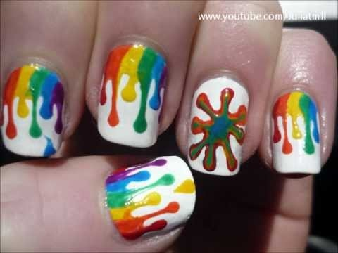 I'm not a fan of the splat, but the dripping paint is fun.      (Dripping Paint Nail Art Colorful Tutorial)