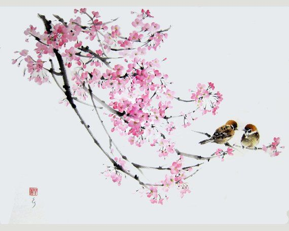 Cherry Blossom And 2 Sparrows Japanese Ink Painting Japanese Art Ink Art Asian Art Oriental Hand Made Painting Sumi E Suibokuga Large Japanese Ink Painting Japanese Art Ink Ink Painting